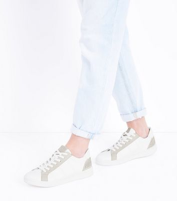 White Diamante Embellished Lace Up Trainers New Look