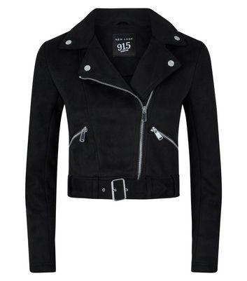 Teens Black Suedette Biker Jacket New Look