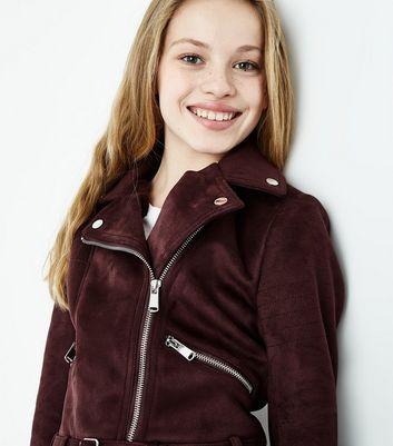 Teens Burgundy Suedette Biker Jacket New Look