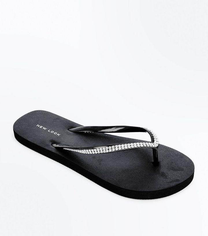 de10c9b594fe Black Diamante Embellished Flip Flops