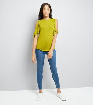 Lime Green Tie Cold Shoulder T-Shirt New Look