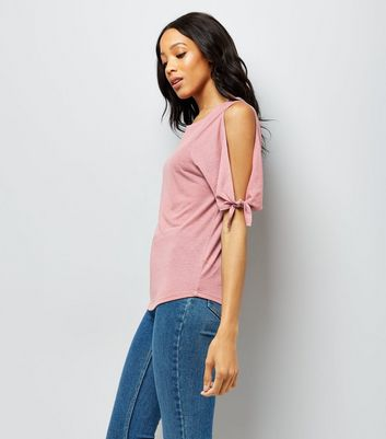 Pink Tie Sleeve Cold Shoulder Tie Sleeve T-Shirt New Look
