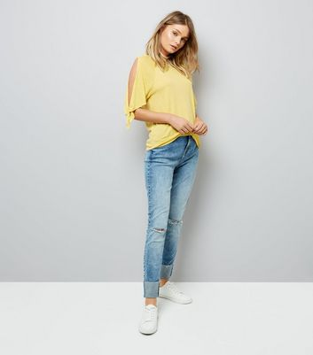 Yellow Tie Cold Shoulder T-Shirt New Look