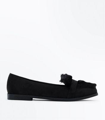 Black Faux Fur Slip On Loafer New Look