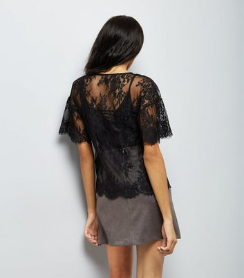 Black Floral Embroidered Lace T-Shirt New Look