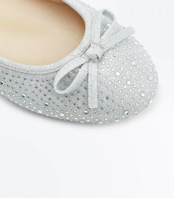 Silver Diamante Embellished Ballet Pumps New Look