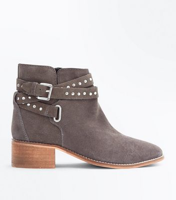 Wide Fit Grey Suede Stud Strap Boots New Look