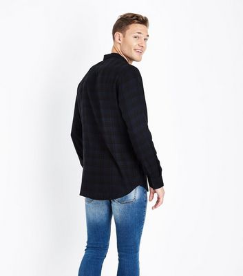 Black Check Long Sleeve Shirt New Look