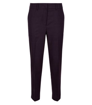 Burgundy Check Slim Leg Trousers New Look