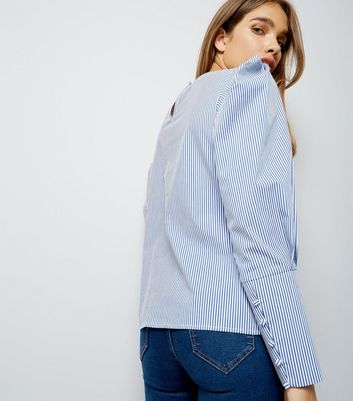Blue Stripe Puff Sleeve Top New Look