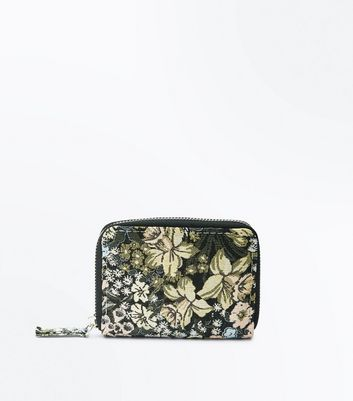 Black Floral Jacquard Purse New Look