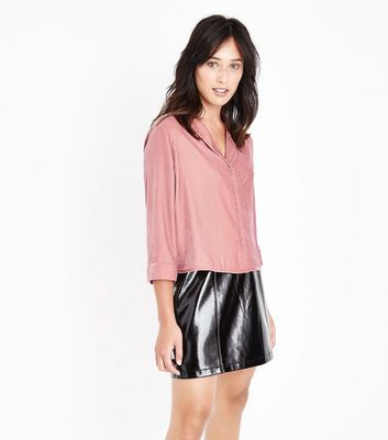 Pink Velvet Pyjama Style Shirt New Look