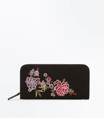 Black Suedette Floral Embroidered Purse New Look