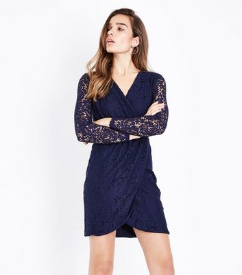 Blue Vanilla Navy Lace Lace Sleeve Bodycon Dress New Look