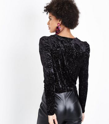 Black Glitter Velvet Puff Sleeve Top New Look