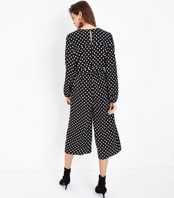 Black Polka Dot Wrap Front Jumpsuit New Look