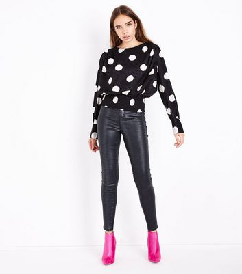 Black Poka Dot Jacquard Shirred Hem Top New Look