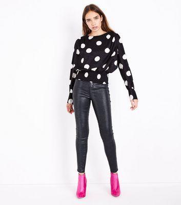 Black Poka Dot Jacquard Shirred Hem Top New Look