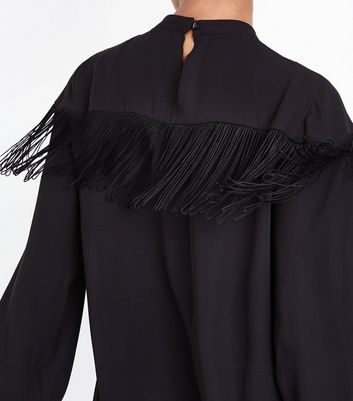 Black Tassel Trim Top New Look