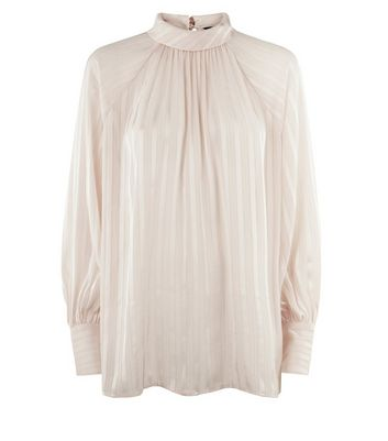 Shell Pink Stripe High Neck Blouse New Look