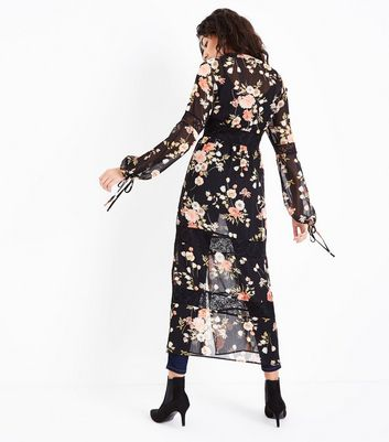 Black Floral Print Chiffon Lace Trim Longline Cover Up New Look