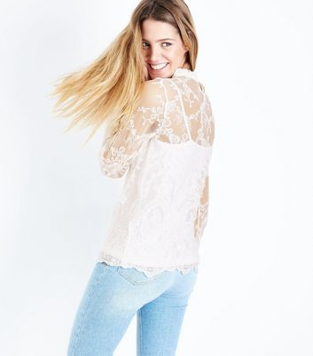 Cream Lace Shirred Cuff Top New Look