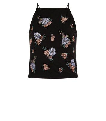 Teens Black Floral Puff Print Cami Top New Look