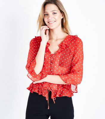 Red Spot Print Chiffon Lace Up Blouse New Look