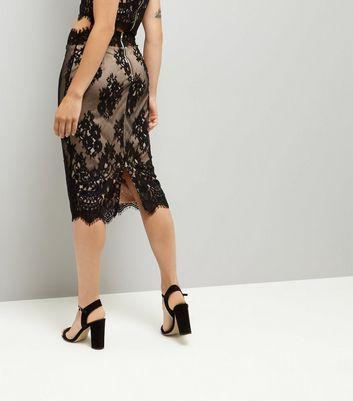 Parisian Black Scalloped Lace Midi Skirt New Look