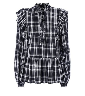 Black Check Frill Trim Shirt New Look