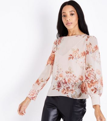 Pink Metallic Stripe Floral Print Blouse New Look
