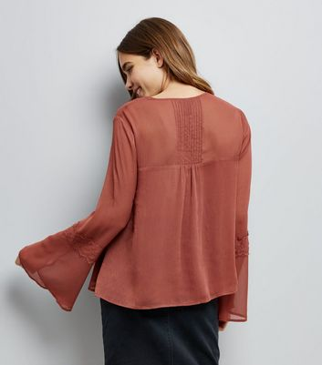 Rust Tie Front Lace Trim Blouse New Look