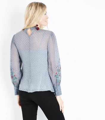 Pale Grey Spot Chiffon Floral Embroidered Blouse New Look