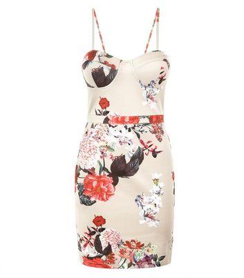 Parisian Stone Floral Print Bodycon Mini Dress New Look