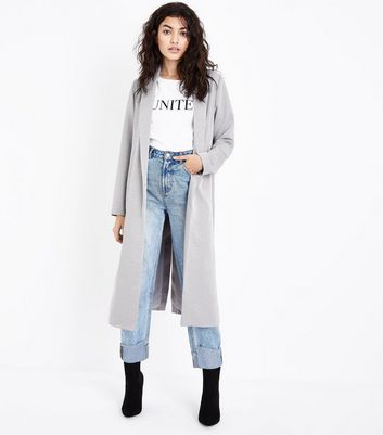 Pale Grey Satin Kimono Duster Jacket New Look