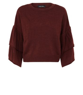Burgundy Tiered Sleeve Jumper New Look