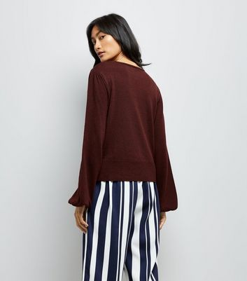 Burgundy Balloon Sleeve Jumper New Look