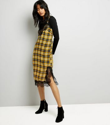Yellow Check Contrast Lace Trim Midi Dress New Look