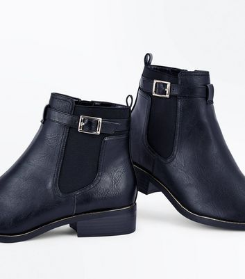 Black Metallic Trim Chelsea Boots New Look