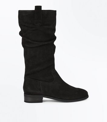Black Leather Knee High Slouch Boots New Look