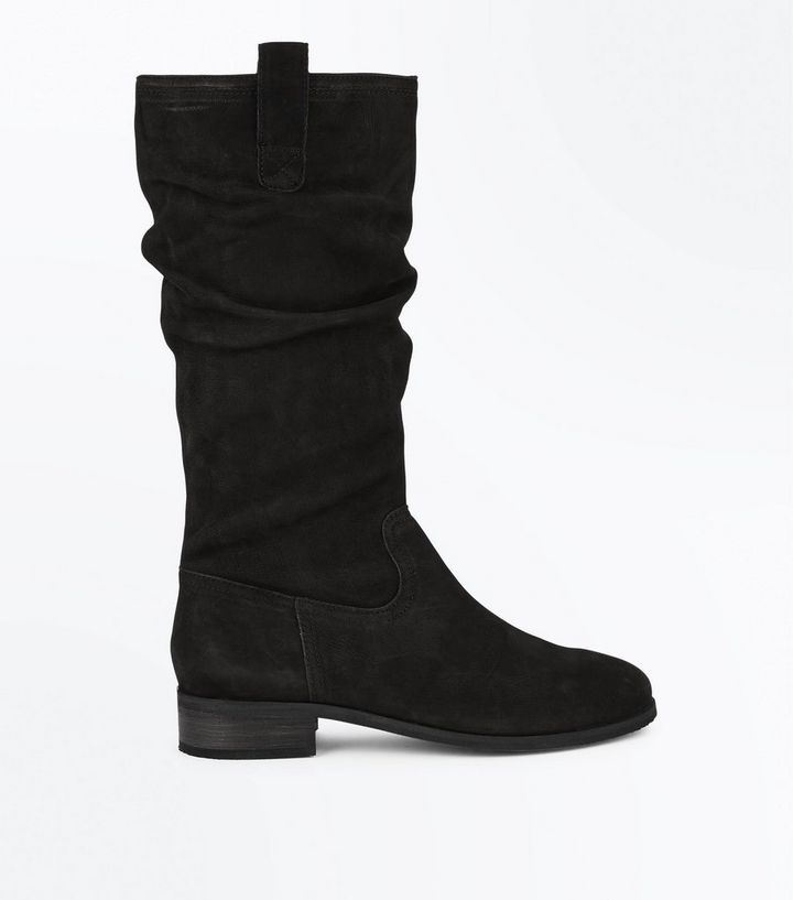 56627850aac Black Leather Knee High Slouch Boots