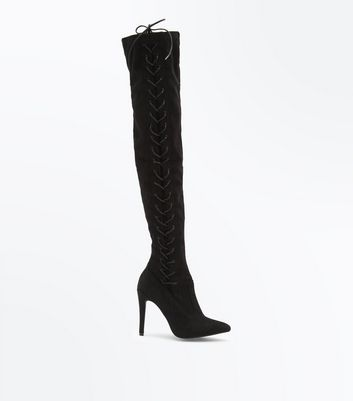Black Suedette Lace Up Over the Knee Boots