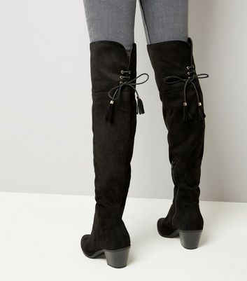 Black Suedette Tie Back Over The Knee Western Boots New Look