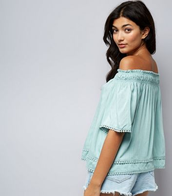Apricot Mint Green Lace Trim Bardot Neck Top New Look