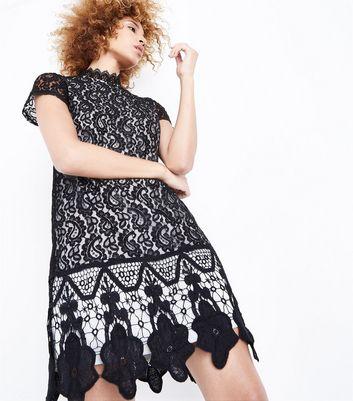 Mela Black Lace Scallop Hem Dress New Look
