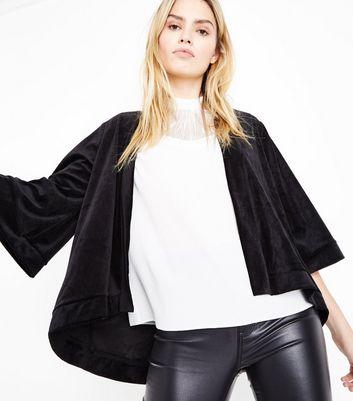 Mela Black Velvet Kimono New Look