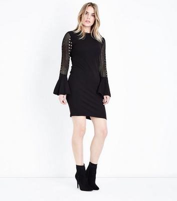 Mela Black Lace Bell Sleeve Mini Dress New Look