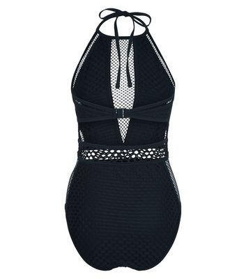 Black Mixed Mesh Swimsuit New Look