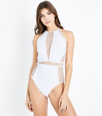 White Mixed Mesh Swimsuit New Look