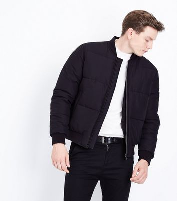 Black Puffer Bomber Jacket New Look